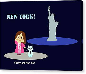 Cathy And The Cat In New York Canvas Print