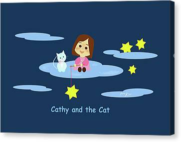 Cathy And The Cat With Stars Canvas Print by Laura Greco