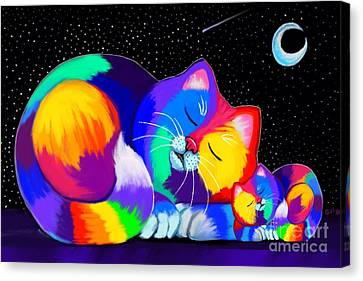 Canvas Print featuring the drawing Catnaps For Two by Nick Gustafson