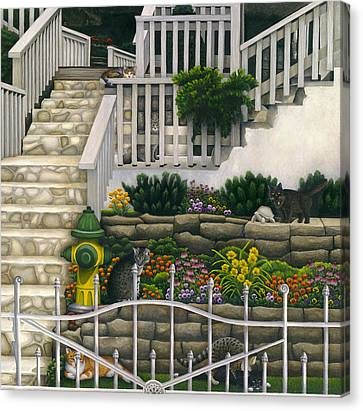 Cats Among Stairs And Garden  Canvas Print by Carol Wilson