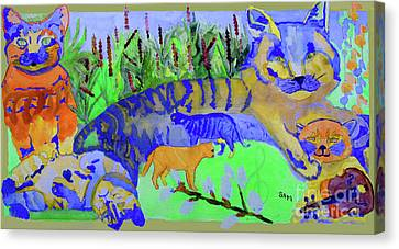 Cats And A Fiddle Canvas Print by Sandy McIntire