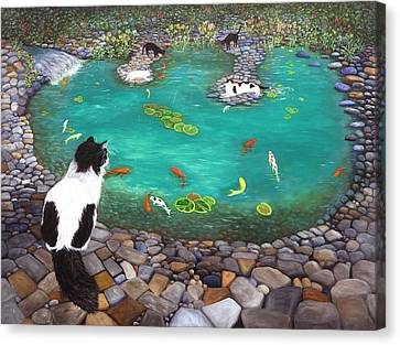Cats And Koi Canvas Print