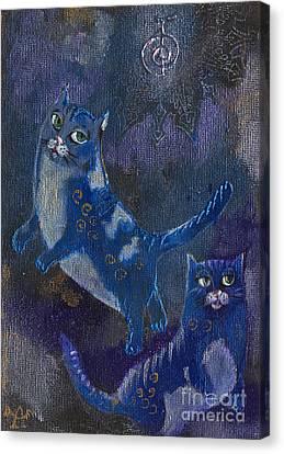Cats And Reiki Canvas Print by Angel  Tarantella