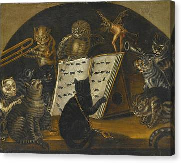 Cats Being Instructed In The Art Of Mouse-catching By An Owl Canvas Print by Lombard School