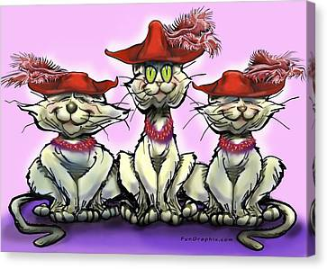 Cats In Red Hats Canvas Print