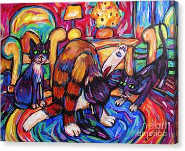 Canvas Print featuring the painting Cats In The Lounge by Dianne  Connolly