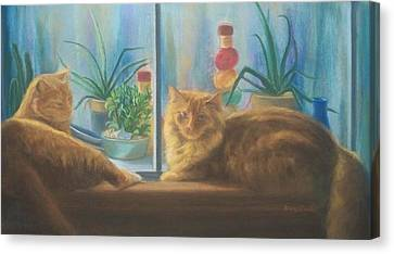 Cats In The Window Canvas Print by Diane Caudle