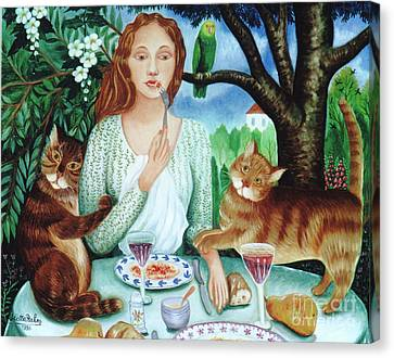 Red Cat Wine Canvas Print - Cats Love Spaghettis by Colette Raker
