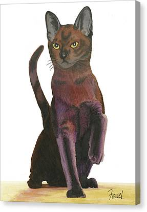 Canvas Print featuring the painting Cats Meow by Ferrel Cordle