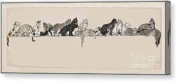 Cats On A Ledge Canvas Print by MotionAge Designs