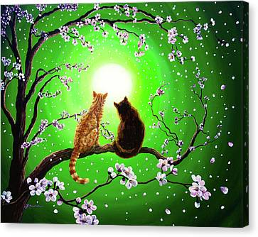 Cats On A Spring Night Canvas Print by Laura Iverson