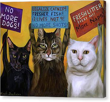 Canvas Print - Cats On Strike 2 by Leah Saulnier The Painting Maniac
