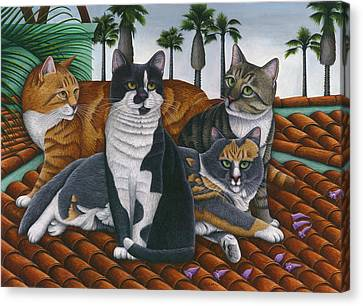 Cats Up On The Roof Canvas Print by Carol Wilson