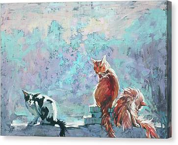 Canvas Print featuring the painting Cats. Washed By Rain by Anastasija Kraineva