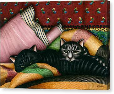 Cats With Pillow And Blanket Canvas Print by Carol Wilson