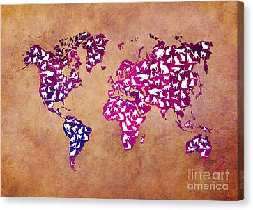 World Map Canvas Print - Cats World Map by Justyna JBJart