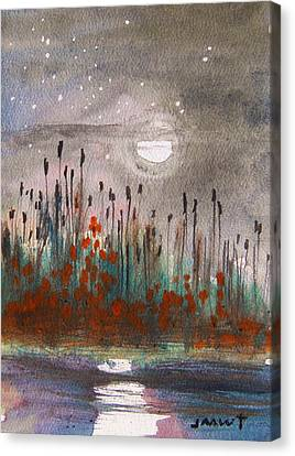 Cattails And Stars Canvas Print by John Williams