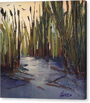 Canvas Print featuring the painting Cattails by Helen Harris