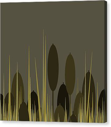 Cattails In The Rain Canvas Print by Val Arie