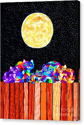 Catting In The Moonlight Canvas Print by Nick Gustafson