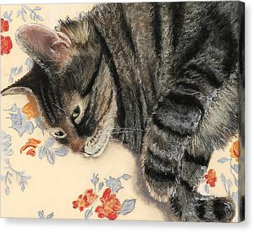 Canvas Print featuring the painting Cattitude by Anastasiya Malakhova