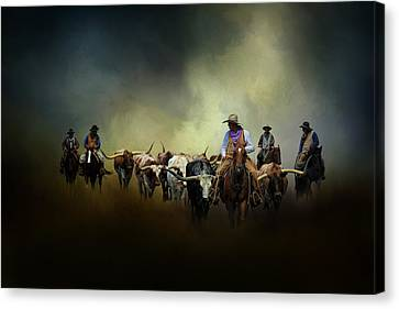 Cattle Drive At Dawn Canvas Print by David and Carol Kelly