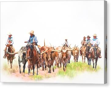 Cattle Drives Canvas Print - Cattle Drive by David and Carol Kelly