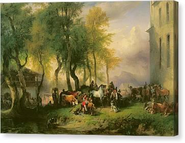 Cattle Market On Maria Plain Canvas Print