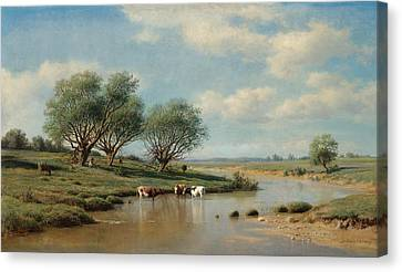 Cattle Dog Canvas Print - Cattle Watering by MotionAge Designs