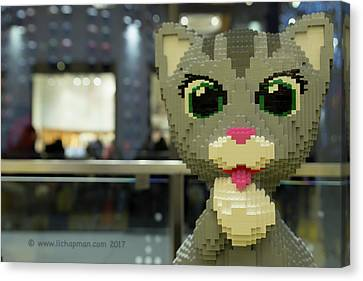 Canvas Print featuring the photograph Caturday In Legoville by Lora Lee Chapman