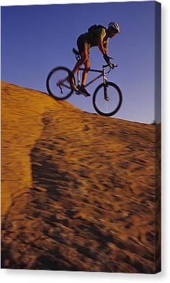 Caucasian Male Mountain Biking Canvas Print by Bobby Model