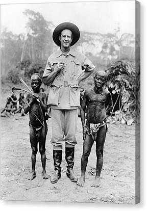 Caucasian Man With Two African Pigmy Canvas Print by Everett