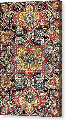 Tapestries - Textiles Canvas Print - Caucasian Silk Embroidery by Unknown