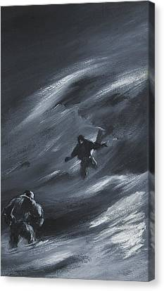 Caught In A Blizzard Canvas Print by Edward Adrian Wilson