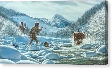 Mountain Men Canvas Print - Caught Off Guard by Dan Nance