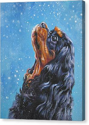 Christmas Dog Canvas Print - Cavalier King Charles Spaniel Black And Tan In Snow by Lee Ann Shepard