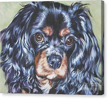 Spaniel Puppy Canvas Print - Cavalier King Charles Spaniel Black And Tan by Lee Ann Shepard