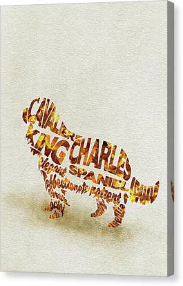 Cavalier King Charles Spaniel Watercolor Painting / Typographic Art Canvas Print