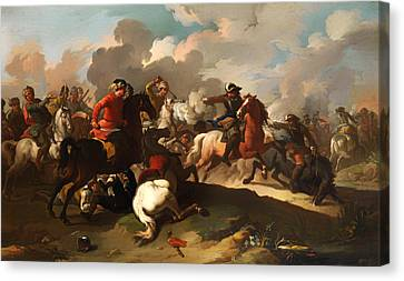 Cavalry Battle Between Christian And Turkish Army Canvas Print by Mountain Dreams