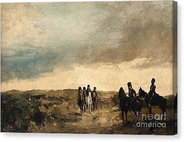 Cavalry Men Maneuvering In The Dunes Canvas Print by MotionAge Designs