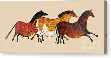 Cave Horses In Beige Canvas Print by Hailey E Herrera