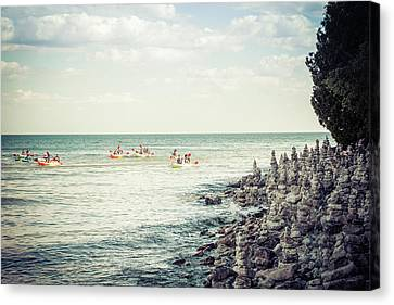Canvas Print featuring the photograph Cave Point Rock Formations by Joel Witmeyer