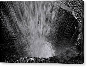 Cavern Cascade - Black And White Canvas Print by Stephen Stookey