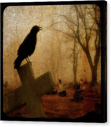Cawing Night Crow Canvas Print by Gothicrow Images