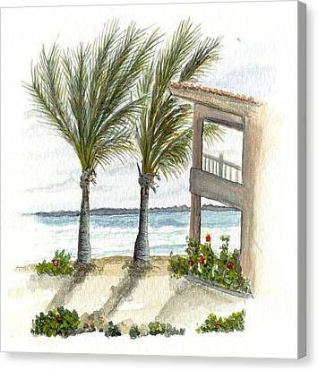 Canvas Print featuring the digital art Cayman Hotel by Darren Cannell