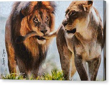 Cecil The Lion And Wife Canvas Print by Leonardo Digenio
