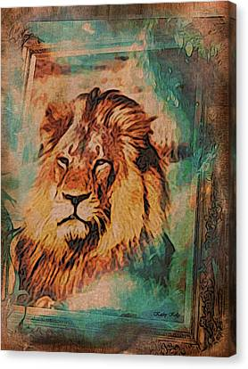 Canvas Print featuring the digital art Cecil The Lion by Kathy Kelly