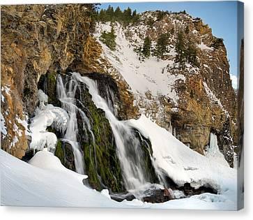 Cedar Creek Falls Winter Canvas Print by Leland D Howard
