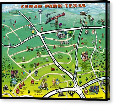 Cedar Park Texas Cartoon Map Canvas Print by Kevin Middleton