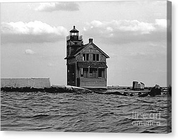 Cedar Point Light Chesapeake Bay Maryland Vintage 1960 Canvas Print by Wayne Higgs